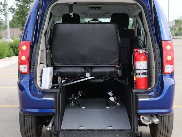 Commercial Rear Entry Dodge Grand Caravan with 3rd Row Folding Bench and D409 equipment